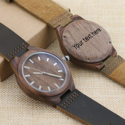 Wooden personalised laser engraved watch
