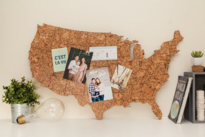 Pinnable Corkboard Map of the United States