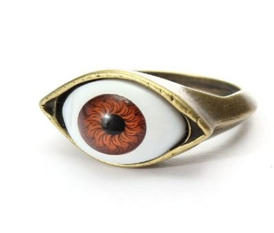 Vintage Punk Bronze Eye Ring for men and women