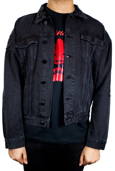 DISTRESSED BLACK DENIM JACKET for just $39.99