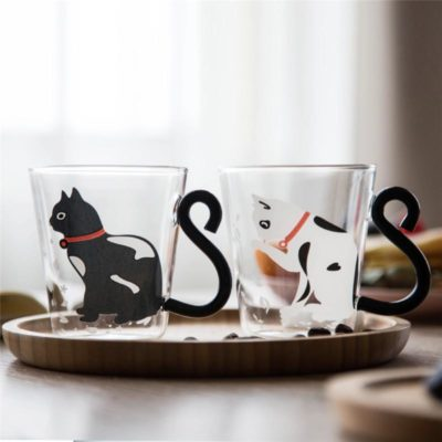 Cartoon Cat Glass Mug 250ml Cute Creative Cat Kitty Glass