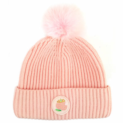 Peach Princess Pink bobble Hat