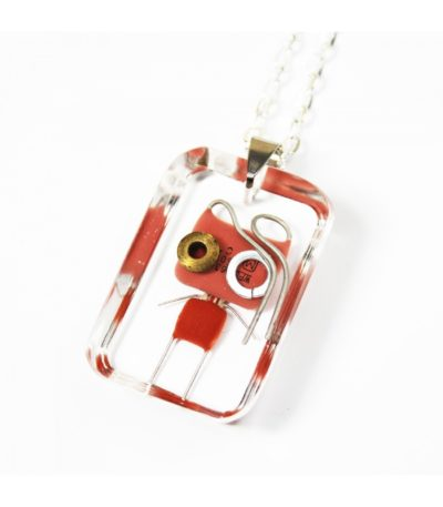 Tiny Robot – Resin Pendant – Electronic components turned into wearable jewelry