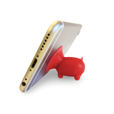 Piggy suction cup phone stand.