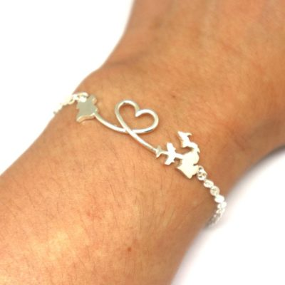 Silver Long Distance Relationship Bracelet