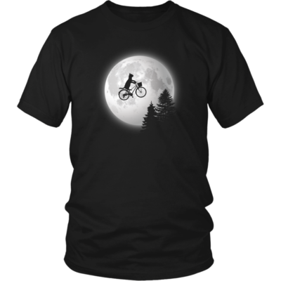 E.T. Style Cat Shirt – Kitty silhouette biking past the moon