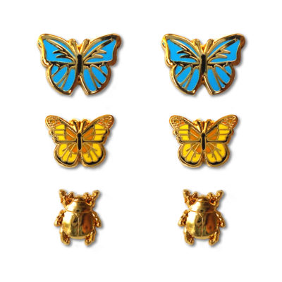 Butterfly & Beetle Earrings 3-pack