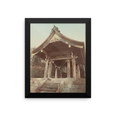 This framed archival print of a 19th century Japanese temple