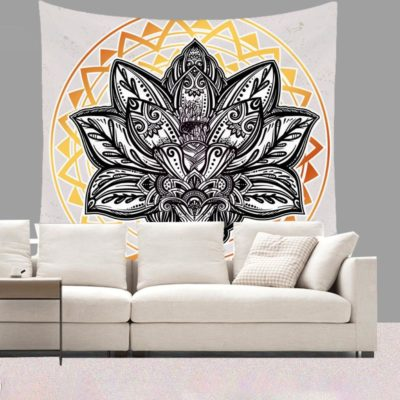 Short Plush Mandala Flowers Tapestry