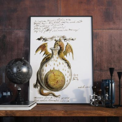 Restored Art Print – Alchemical and Rosicrucian Compendium – Dragons – 1760