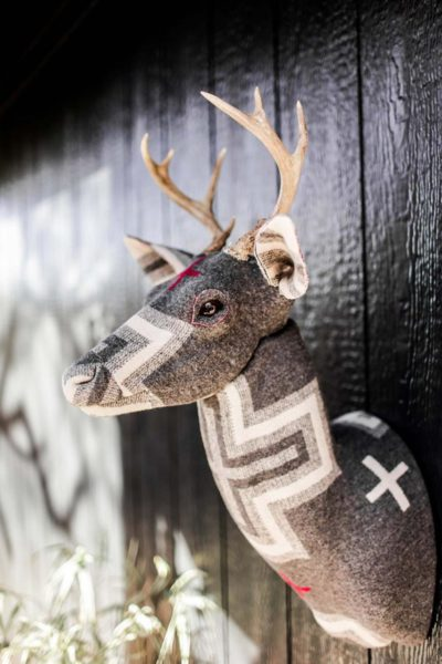 Taxidermy style Buck Head covered in Pendleton Wool