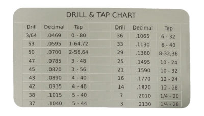 Wallet sized drill and tap chart etched stainless steel card