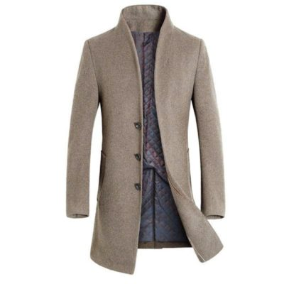 British style woolen coat for men