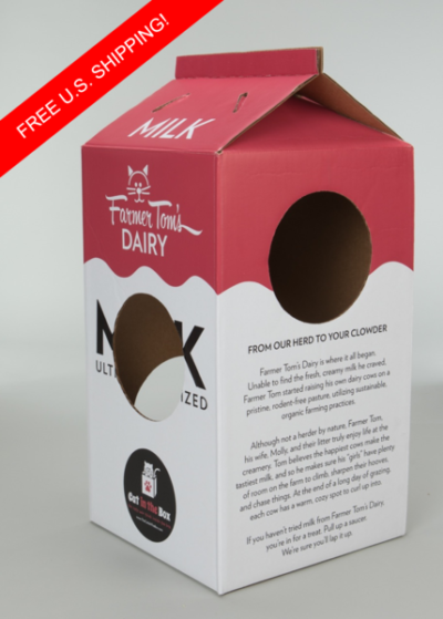 A cute cardboard milk carton box for cats to play in!