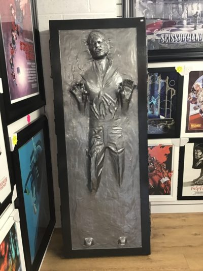 Life-size Han Solo in Carbonite. (Lights up)