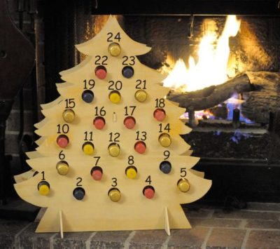 Handmade Christmas Tree Advent Calendar for Mini Bottle of Wine, Bubbly, Shots, Cider, and more!