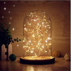 Beautiful decorative wooden base and glass dome table lamp
