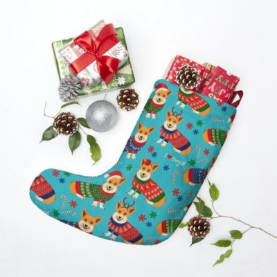 Christmas Holiday Corgi Stocking