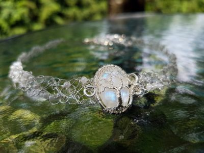 Moonstone tree necklace.
