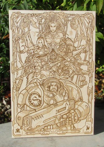 Starcraft laser engraved onto solid Maple hardwood