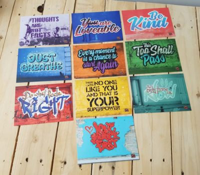 Graffiti-styled Mindfulness Cards for teens, to promote self-kindness and self-esteem. (Also for adults)