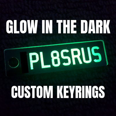 Glow in the DARK Custom Plate Number Keyrings.