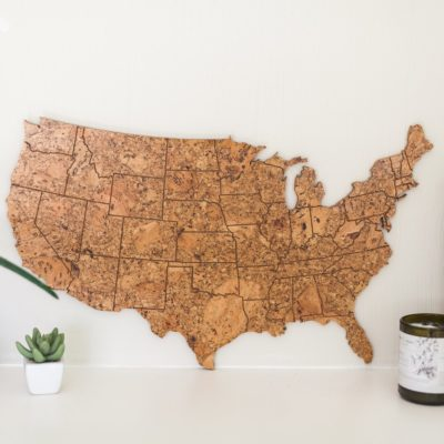 Cork map to track travels, pin souvenirs, and show off past adventures