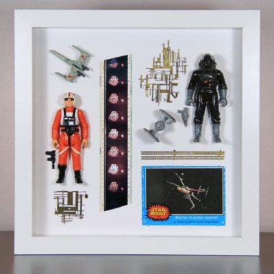 Vintage Star Wars Display – handmade from film props, Kenner action figures, 35mm film, and more