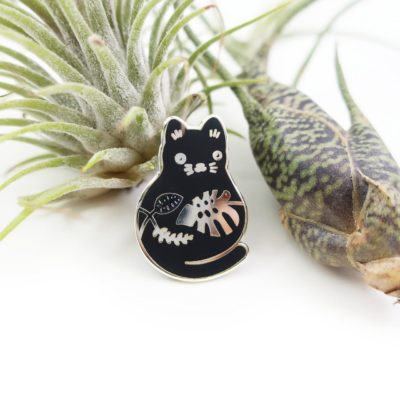 Plump Plant Kitty Enamel Pin