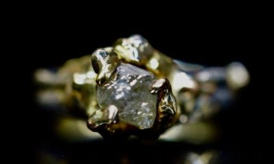 Raw Diamond Engagement Ring with 2 Carat Octahedron