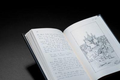 A faithful reproduction of the original manuscript of Alice In Wonderland.