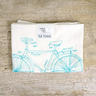A super cute Bicycle diagram Tea Towel